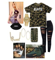 """""""Untitled #375"""" by dilynnjames ❤ liked on Polyvore featuring A BATHING APE, Valentino, Nicki Minaj, Lime Crime, Michael Kors and Dorothy Perkins"""