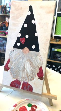christmas paintings Gnome Painting Acrylic Paints Step by Step Easy Canvas Painting, Diy Canvas, Diy Painting, Beginner Painting, Canvas Ideas, Painting Tutorials, Christmas Art, Christmas Decorations, Christmas Gnome