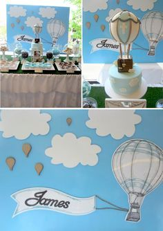 Hot Air Balloon Christening Party - this is in the colour theme I have chosen for Alex's 1st birthday party!
