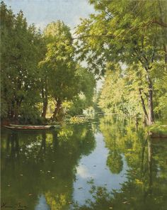 Henri Biva, Punts moored on still waters, oil on canvas, 61 x 50 cm. - Henri Biva - Wikipedia, the free encyclopedia