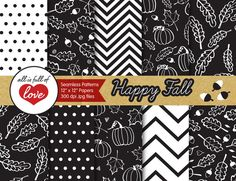 Black Fall Hand Drawn Illustrations  by All is full of Love on @creativemarket