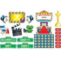 Carson Dellosa Publications Lights Camera Action Bulletin Board Cut Out Set Hollywood Theme Classroom, Old Hollywood Theme, Classroom Themes, Music Classroom, Lights Camera Action, Light Camera, Walk Of Fame Stars, Red Carpet Theme, Creative Teaching Press