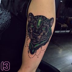 This Jaguar tattoo is SICKK! And the green color detail is Everything! Half Sleeve Tribal Tattoos, Leg Sleeve Tattoo, Sleeve Tattoos For Women, Mini Tattoos, Body Art Tattoos, Cool Tattoos, Black Panther Tattoo, Panther Tattoos, Dragon Tattoo Quotes