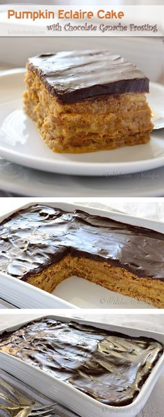 Pumpkin Eclair Cake with Chocolate Ganache Frosting ~ Says: It is really quick and simple to make an eclair cake: layers of graham crackers alternating with pudding/whipped cream mixture, topped with a luxurious, yet simple-to-make, chocolate ganache frosting. No need to turn on the oven and ready in minutes
