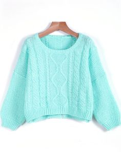 Sheinside - Green Long Sleeve Cable Knit Sweater:
