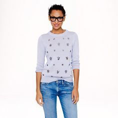 J.Crew Jeweled-cluster sweater in lavender