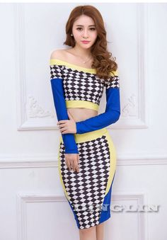 Women Sexy Blouse Crop Top Tee Party Dress Geometric Pencil Skirt Two Piece Set | eBay