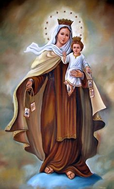 The Blessed Virgin Mary holding Baby Jesus Blessed Mother Mary, Blessed Virgin Mary, Catholic Art, Catholic Saints, Religious Images, Religious Art, Mont Carmel, Spiritual Pictures, Lady Of Mount Carmel