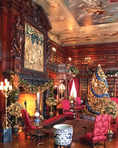 George Vanderbilt's Library takes on   a warm glow during the Christmas season in Biltmore House.