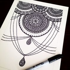 Today's #dailydoodle Another chandelier motif #zentangle