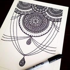 Today's #dailydoodle Another chandelier motif #zentangle