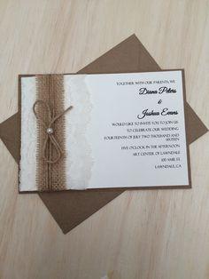 Rustic wedding invitation, lace and burlap wedding invitation, twine wedding invitation with pearl, kraft invitation