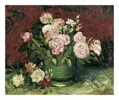 """Vincent van Gogh """"Vase with peonies and roses"""", 1886 Vincent Van Gogh, Artist Van Gogh, Van Gogh Art, Art Van, Dutch Artists, Famous Artists, Flores Van Gogh, Van Gogh Flowers, Art Grants"""