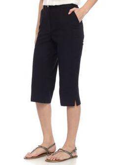 Ruby Rd Black Petite Safari Seam Front Capri Pants