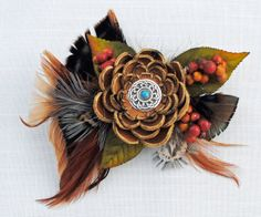 Tan Leather Flower Pin with Alligator Clip & by FeathersFly, $30.00