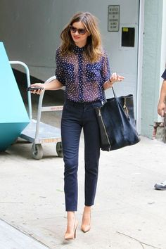 Miranda Kerr - Sheer navy polka dot blouse and navy cigarette pants