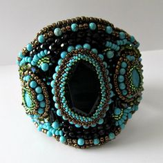 SUPER SALE 50 OFF Beadwork Wide Cuff by PacificJewelryDesign