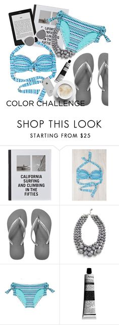 """Rock This Look: Blue and Silver"" by sanddollardubai ❤ liked on Polyvore featuring Patagonia, Havaianas, Aesop and Blanc & Eclare"