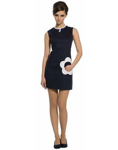 MARMALADE Retro 1960s Mod Flower Pocket Fitted Dress in Navy --- I honestly think I need a dress with a flower pocket.