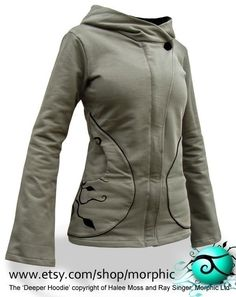 Womens Deeper Hoodie Tussock Green   Shadow Black by Morphic d100f39434