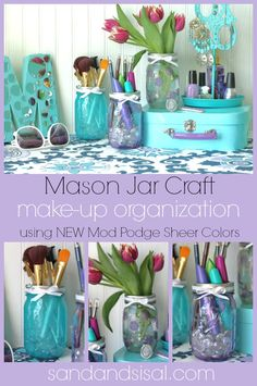 Mason Jar Make-up organization