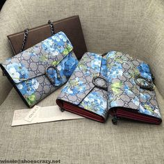 Gucci Dionysus 401231 Blue Blooms Print Mini Chain Bag 2016