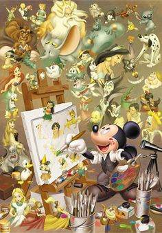 It's funny becuase Walt Disney is the original voice of Mickey and Mickey is making everything. I heart disney