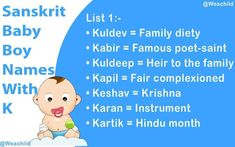 Looking for a Sanskrit Baby Boy Names Starting With K? Then your search is over here. You are in the right place. I hope that our list of Sanskrit baby boy's names will help you finding a proper Hindu name for your little one. Boy Names With J, Hindu Names For Boys, Hindu Baby Boy Names, Indian Baby Names, Indian Boy, Lord Vishnu Names, Krishna Names, Sanskrit Baby Boy Names, Sanskrit Names