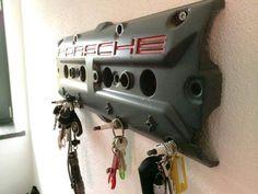 DIY Porsche key holder made of old valve cover Garage Furniture, Car Part Furniture, Automotive Furniture, Furniture Plans, Kids Furniture, Modern Furniture, Furniture Design, Car Parts Decor, Old Car Parts