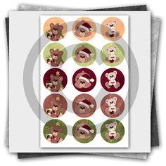 Christmas Teddies Printable Bottle Cap Images Collage Sheet