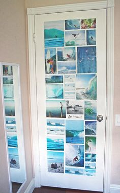 Photo collage on back of door? Genius.
