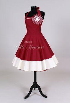 Farb- und Stilberatung mit www.farben-reich.com - Petticoatkleid Mod. Rose weinrot/creme von Atelier Belle Couture auf DaWanda.com