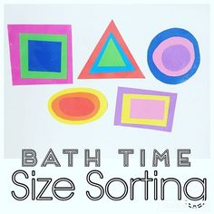Bath Time Size Sorting {I made these shapes out of foam paper that I found at the $1 store. Bree stayed in the bath for an extra 10 minutes playing with them over and over! You can also play with these on the window if you get them wet!} #bathtime #bathplay #bathgame #sizesorting #sizesort #sizegame #toddlersizes #toddlersorting #toddleractivity #shapeactivity #toddleractivities #bathactivity #bathactivities #shapes #toddlerfun #toddlerplay #bathplay #bathfun