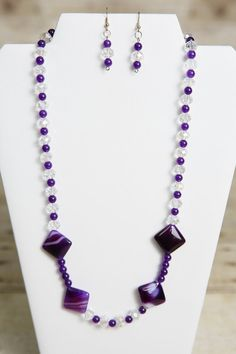 Purple Lampwork and Glass Beaded Necklace by jewelrystyleandmore, $27.00    #jewelry #bead #beaded #beadedjewelry #handmade #forsale #etsy #jewelrystyleandmore  #necklace  #earrings  #glassbeads