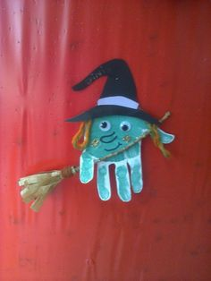 Halloween Witch Hand print craft