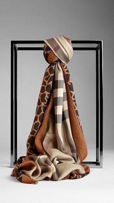Animal Print Haymarket Check Scarf | Burberry