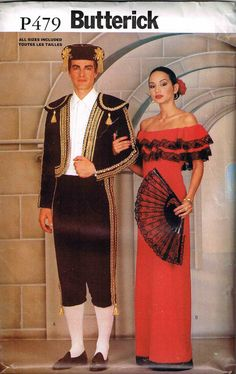 Spanish Matador Bull Fighter Butterick 3237 P479 Costume Sewing Pattern by PeoplePackages on Etsy