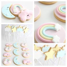 Cookies by Sweet Table Australia Rainbow First Birthday, Baby Girl 1st Birthday, Girl Birthday Themes, Unicorn Birthday Parties, First Birthday Parties, Birthday Party Decorations, First Birthdays, Pastell Party, Deco Baby Shower