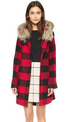 BB Dakota Women's Jaslene Buffalo Plaid Coat, Red, X-Small