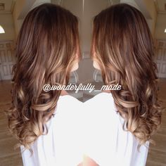 Hair color tape extensions. Ombré ombre created with tape extensions. Brunette blonde