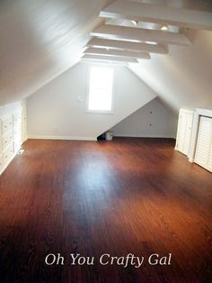 Oh You Crafty Gal: Attic Renovation Dream Craft and Sewing Room final results tons of built in storage dressers and a knee wall hanging closet