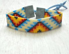 Tribal Bead Loom Bracelet Bohemian Loom by BeadWorkBySmileyKit