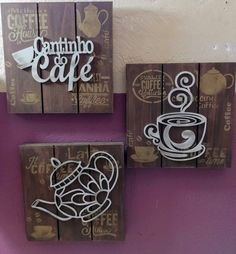 Trio de Paletes - Canto do Café . Coffee Cup Art, Coffee Bar Home, Arte Pallet, Pallet Art, Plastic Bottle House, Wood Crafts, Diy And Crafts, Laser Art, Woodworking Crafts