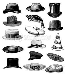 types of hats | ... Male Classic Hats All Types Royalty Free Stock Vector Art Illustration