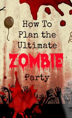 How to throw a Zombie Themed Party from bloody food ideas to scary decorations. Zombie Themed Party, Zombie Halloween Party, Zombie Birthday Parties, Halloween Birthday, Holidays Halloween, Halloween Crafts, Birthday Ideas, Zombie Party Games, Disneyland Halloween