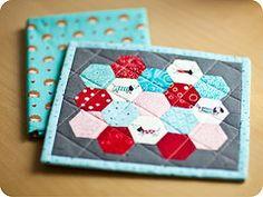 hexagon mug rug - awesome colors!