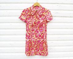Mini Dress US Size 6 EU 36 Vintage Paisley Womens by MerilinsRetro