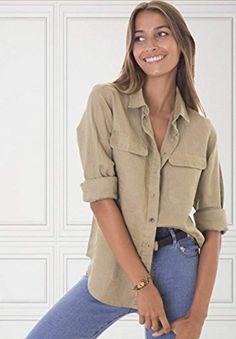 4e833689a16207 CAMIXA Womens 100% Linen Button Down Shirt Casual Basic Blouse Pockets  Loose Top at Amazon Women's Clothing store: