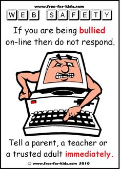 If your expiriencing cyber bullying it's best if you stay off for a while. If that doesn't resolve the problem then just stay away from the internet period. Social Media Safety, Web Safety, Cyber Safety, Cyber Bullying Poster, Social Media Etiquette, Internet Safety For Kids, Best Seo Tools, Technology Posters, Safety Posters