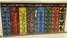 School lockers painted to look like the spines of Harry Potter Books Harry Potter Cards, Harry Potter Books, Book Stairs, Mural Painting, Paintings, School Painting, Book Spine, School Lockers, Painted Books